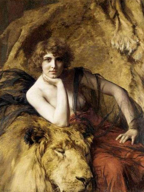 "Emile Friant ""Woman with Lion"""
