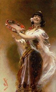 Gypsy and Tambourine ALois Han Schram c.1885